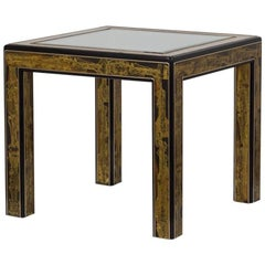 Mastercraft Acid Etched Brass and Ebonised Side Table, 1980s