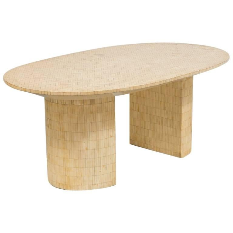 Unusual oval tessellated bone double pedestal dining table for Unusual dining tables for sale