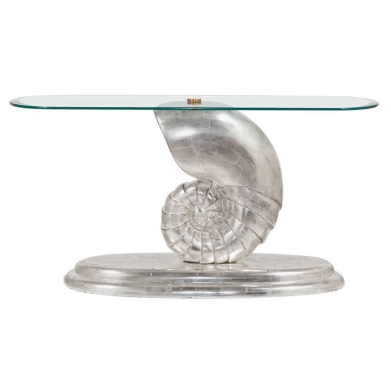 Nautilus Console Table with a Glass Top