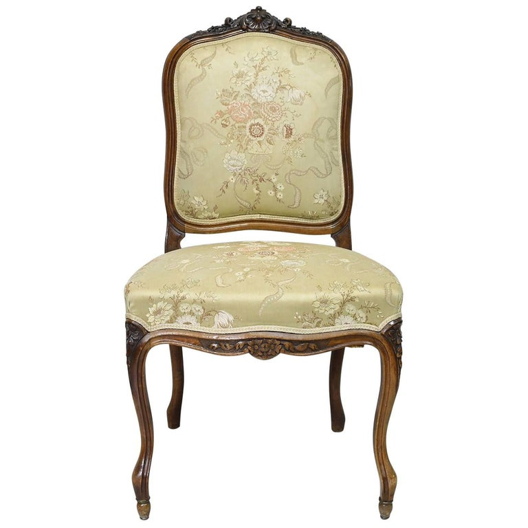 Louis XV Style Side Chair in Walnut with Upholstered Back and Seat, circa 1860