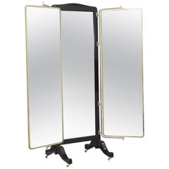 French Brass and Ebonised Wood Mirrored Screen, circa 1890