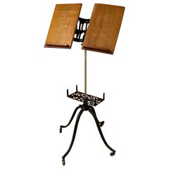 Early Iron and Oak Adjustable Book Stand