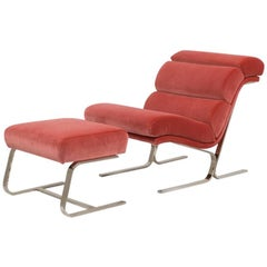 Cantilevered Chromium Steel Framed Chair and Stool 1970s