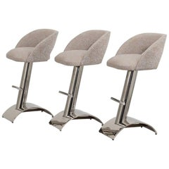 Set of Three Chrome Framed Upholstered Bar Stools