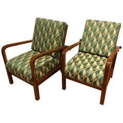 Set of Two Art Deco Adjustable Beech Armchairs, 1930s