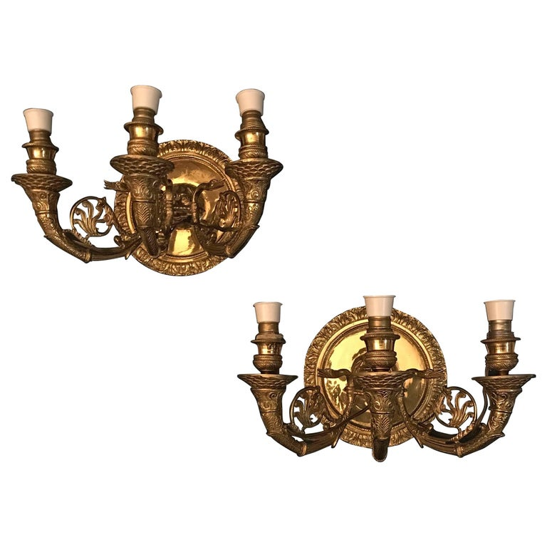 Pair of Italian Empire Style Brass Scones or Wall Lights 1970