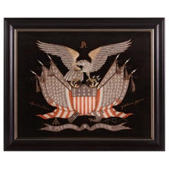 Elaborate Sailor's Souvenir Embroidery from the Orient With a Large Eagle