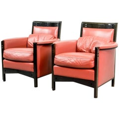 Splendid Midcentury Pair of Giorgetti Lounge Chairs by Umberto Asnago, 1980s