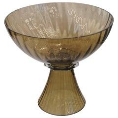 Alberto Donà, Footed Bowl, Olive Mezzatinta, Rigadin, Hexagonal Neck, Murano