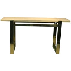 Console Table Brass with Faux Goatskin Top