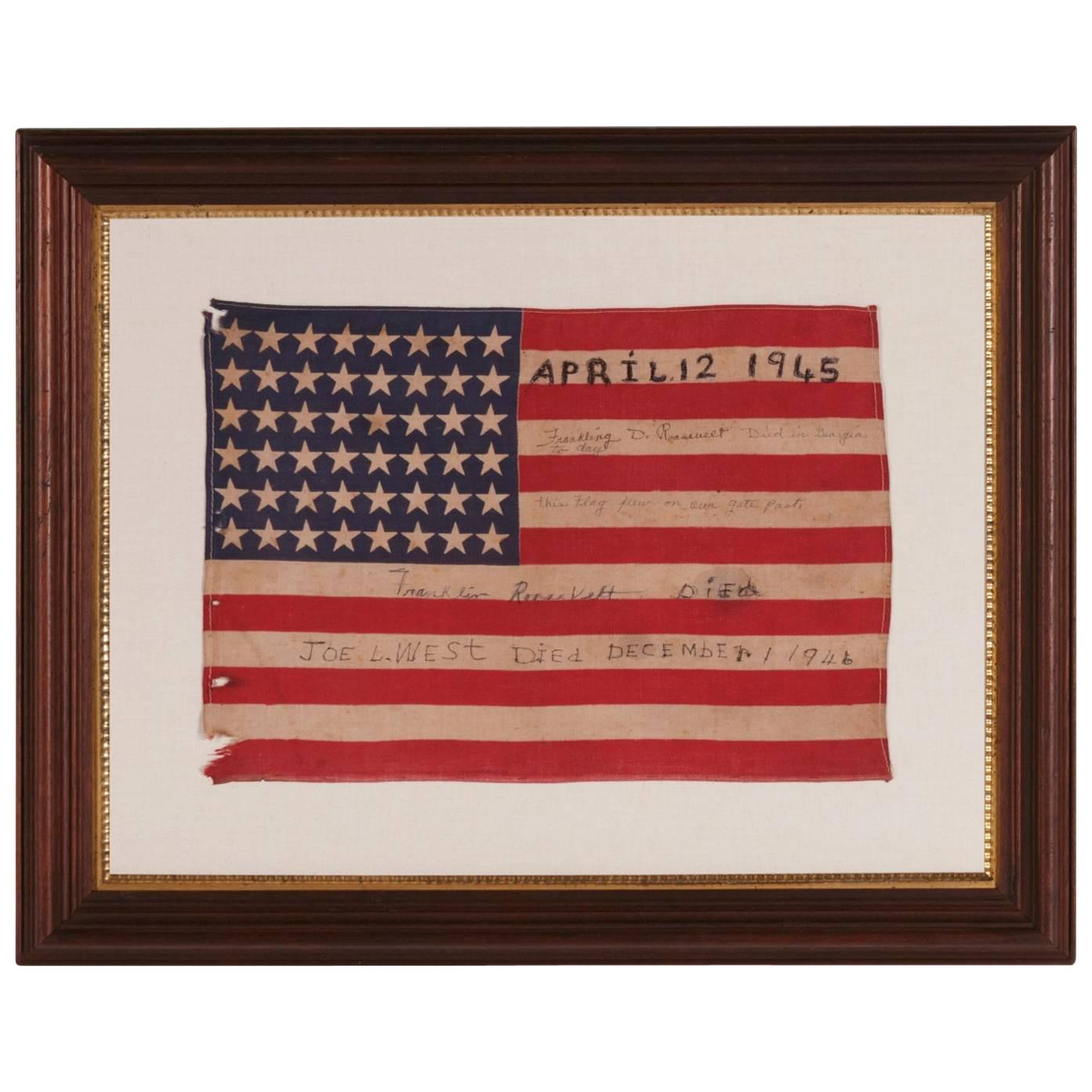Antique American Flag w/ Hand-Written Inscriptions Mourning the Death of FDR