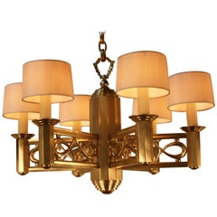 French, 1950s Bronze Chandelier by Jules Leleu