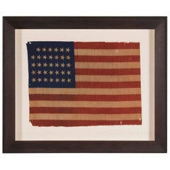 34 Star Antique American Flag, Civil War Period, Possibly a US Army Camp Colors