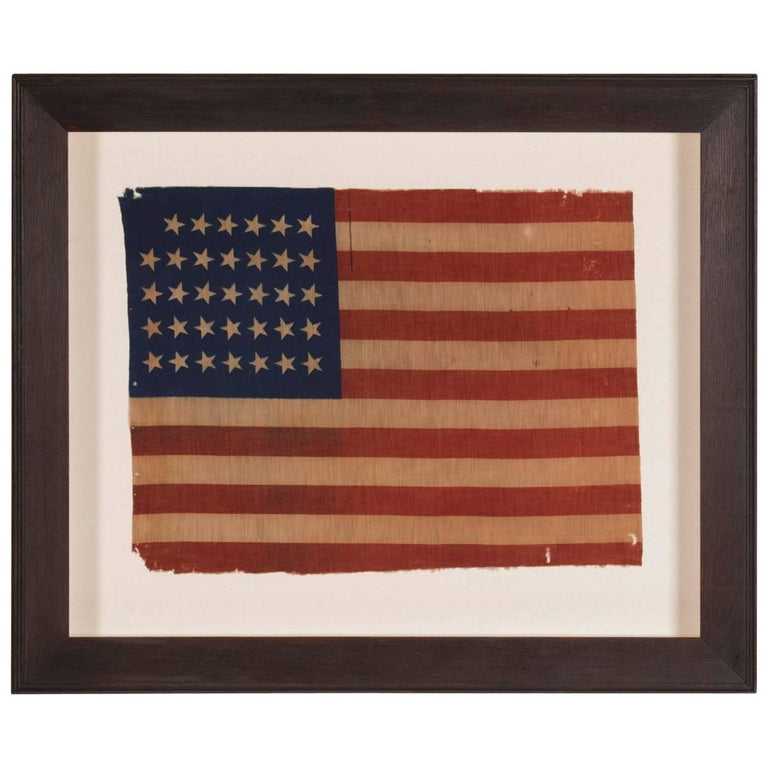 34 Star Antique American Flag, Civil War Period, Possibly a US Army Camp Colors For Sale