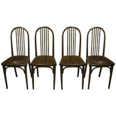 Vienna Beech Dining Chairs by Josef Hoffmann for Thonet, Set of Four