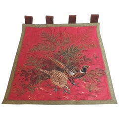 Vintage Tapestry Wall Hanging Depicting Pheasants