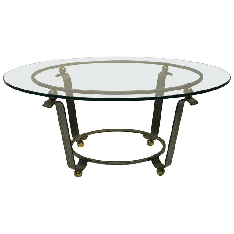 Art Deco Coffee Table Or Accent Table Glass Top For Sale At 1stdibs
