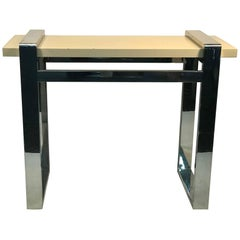 Chrome Side Table with Faux Goatskin Top or Console Table