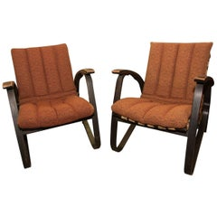 Pair of Bentwood Armchairs with Woven Straps by Jan Vanek for UP Zavody, 1930s