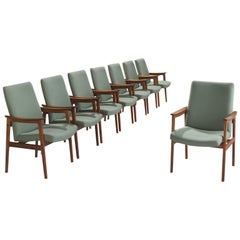 Set of Eight Highback Armchairs in Teak and Mintgreen Fabric
