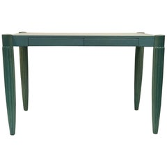 French Art Deco Desk Faux Leather Top Robin Egg Blue