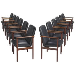 Set of Twelve Danish Rosewood Armchairs