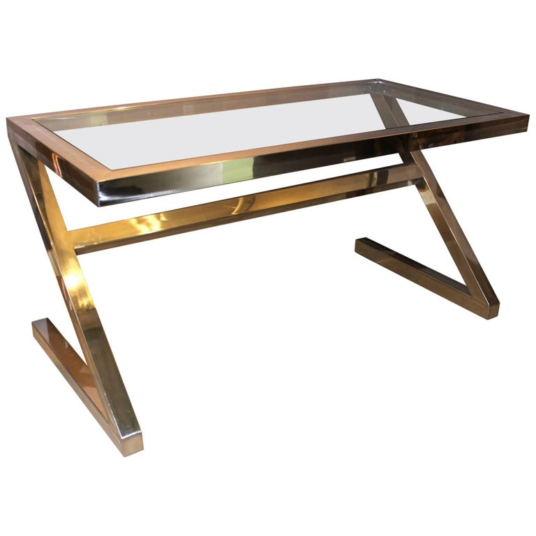 Mid-Century Modern Milo Baughman Style Chrome Z Form Glass Top Desk or Table