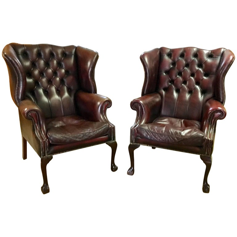 Tufted Leather Wingback Library Chairs With Nailhead