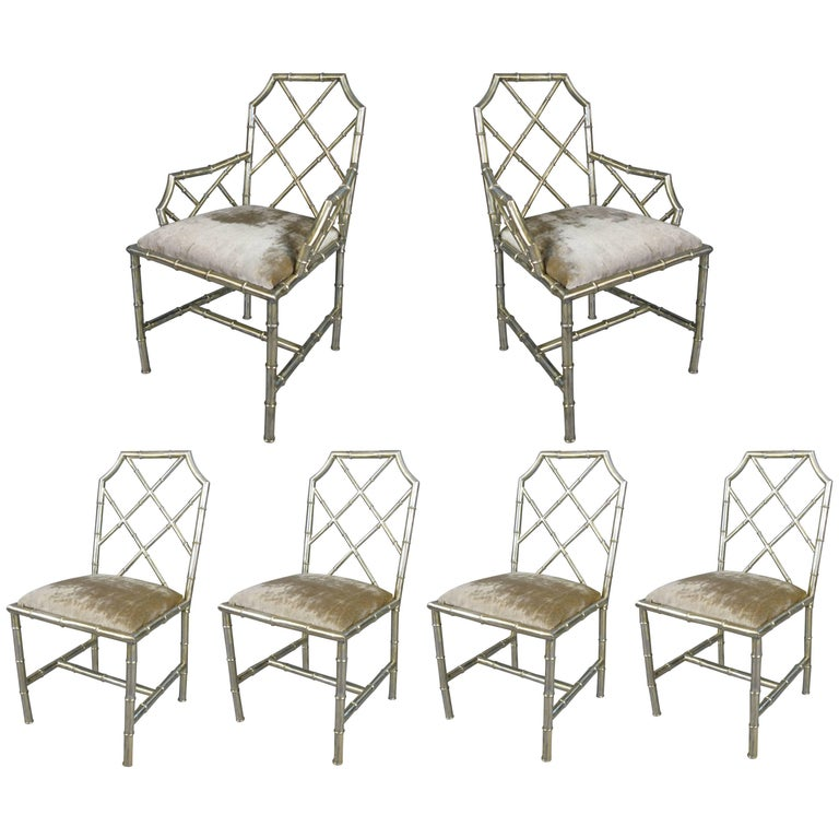 Set of Six Steel Bamboo Chippendale style Dining Chairs