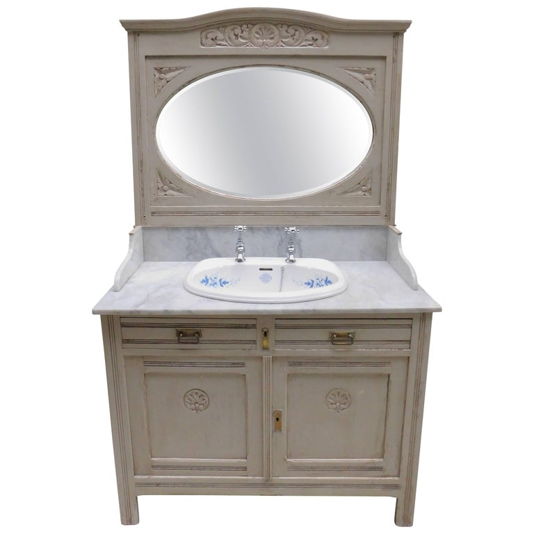 Antique Marble Top Sink Vanity with Mirror and Blue and White Porcelain Sink