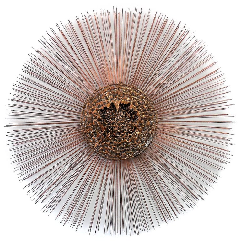 Large Sunburst Wall Sculpture in the Manner of Bertoia