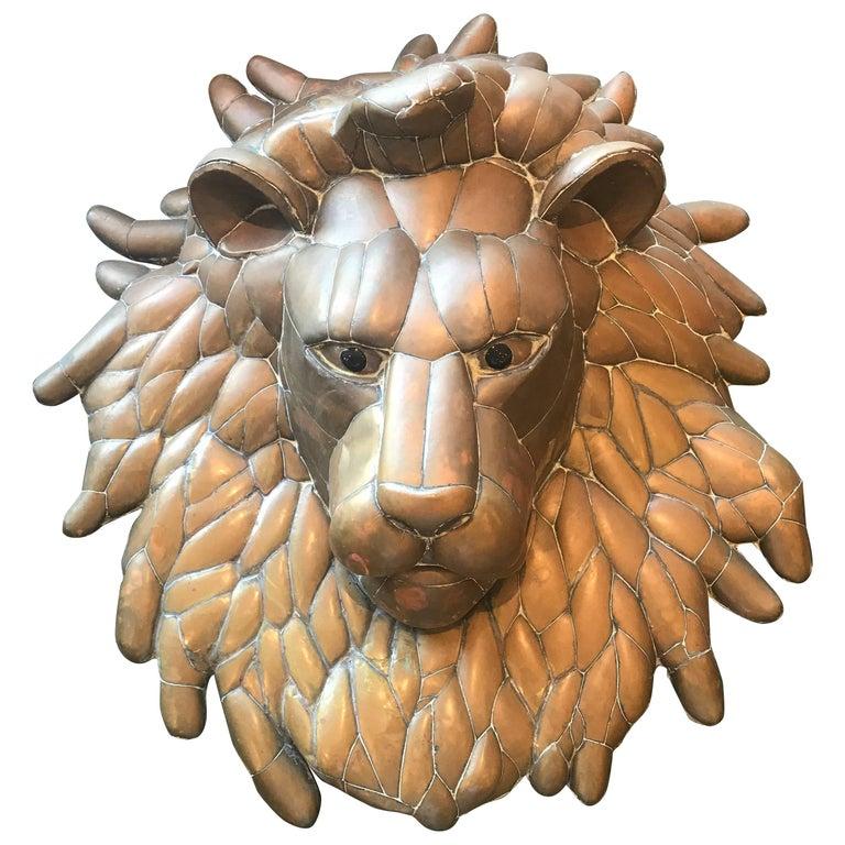 Modern Sergio Bustamante Brass Lion Head Sculpture