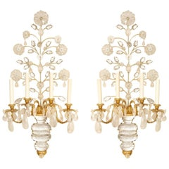 Pair of New Four-Light Rock Crystal Sconces