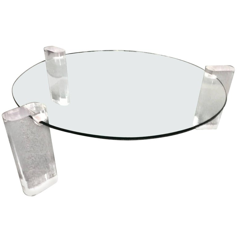 Lucite and glass coffee table round for sale at 1stdibs for Round glass coffee tables for sale