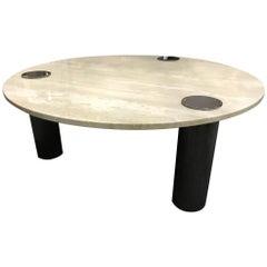 Travertine Coffee Table Round with Chrome Pillars