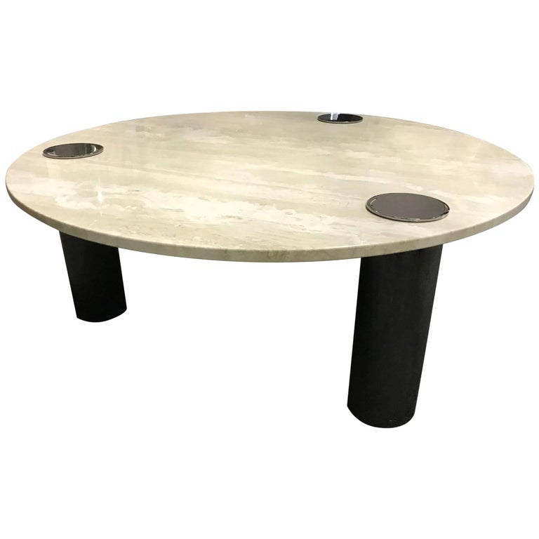 Travertine Coffee Table Round With Chrome Pillars For Sale At 1stdibs