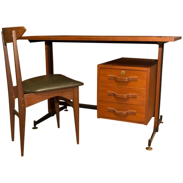 Mid-Century Italian Teak Writing Desk, 1950s