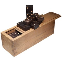 Early 20th Century Large Wooden Domino Set, circa 1900