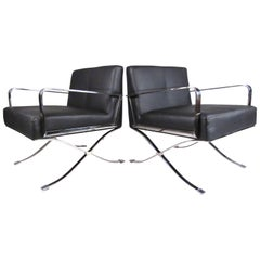 Pair of Modern Chrome and Vinyl Lounge Chairs