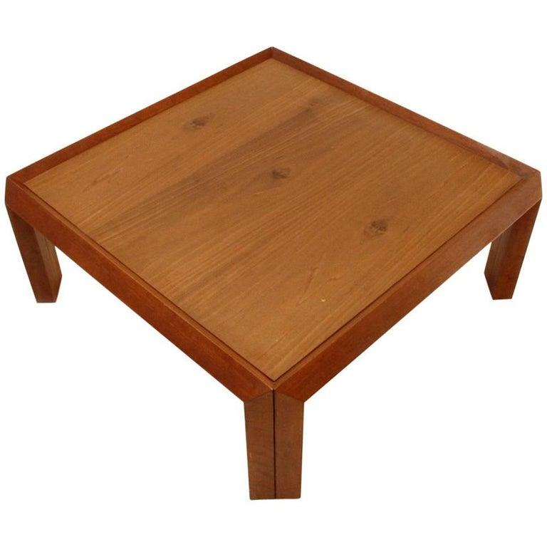 Italian Square Wood Coffee Table, 1980s