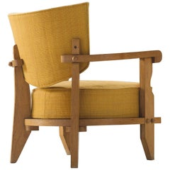 Guillerme & Chambron Carved Solid Oak Club Chair