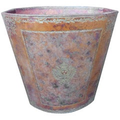 Vintage French Waste Paper Basket leather with Gold Embossed Decoration