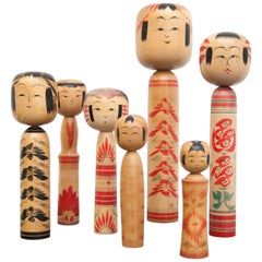 "Set of 7 ""Kokeshi"" Dolls"
