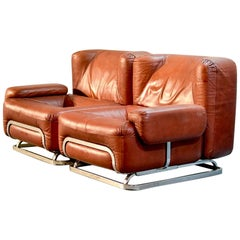 Chestnut Brown Leather Two-Seater Sofa in Style of Tobia Scarpa, 1970s