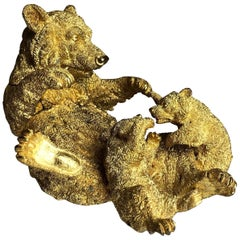 Russian Gilded Bronze Bear and Cubs Inkwell
