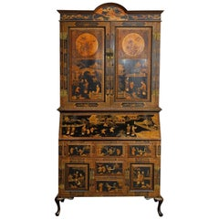 18th Century English Chinoiserie Lacquered Secretary Cabinet
