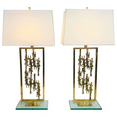 Pair of Mid-Century Modern Brass and Glass Brutalist Table Lamps, circa 1960s