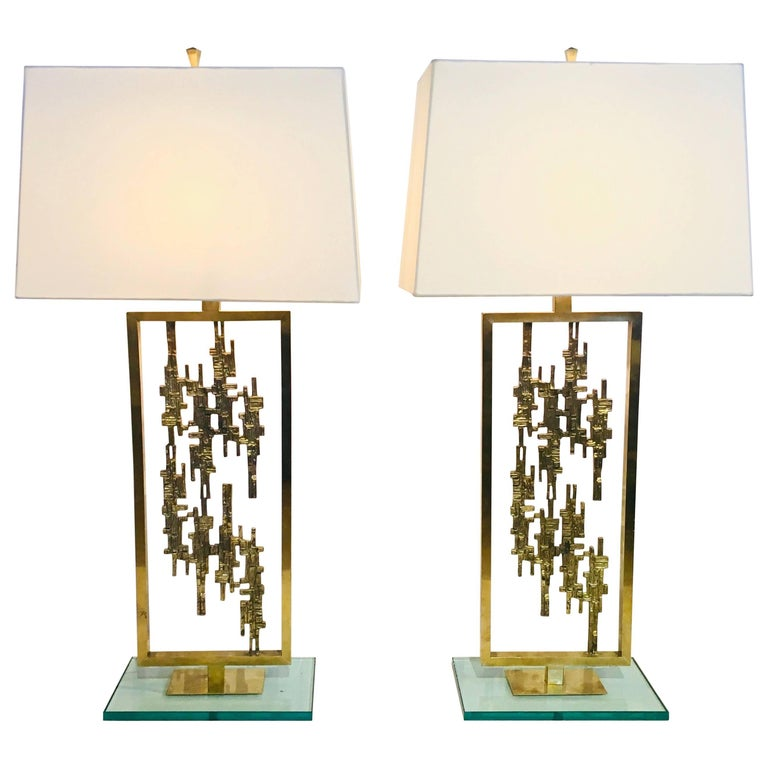 Pair of Mid-Century Modern Brass and Glass Brutalist Table Lamps, circa 1960s For Sale