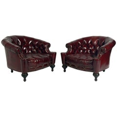 Pair of Tufted Oxblood Red Leather Club Chairs