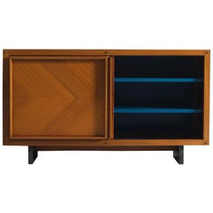 Andre Sornay Early Mahogany Cabinet with Blue Interior